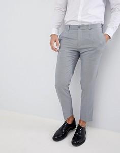 Серые строгие укороченные брюки в клетку Burton Menswear - Серый