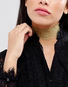 Золотистое кружевное ожерелье-чокер Johnny Loves Rosie - Серебряный