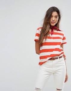 Свободная футболка в полоску Maison Scotch - Красный