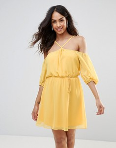 Платье халтер с открытыми плечами BCBG - Желтый