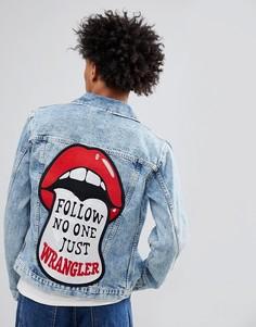 Джинсовая куртка с принтом в стиле ретро на спине Wrangler - Синий