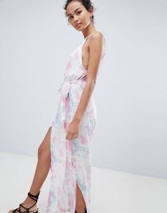 Пляжное платье с принтом тай-дай и боковыми разрезами Influence - Мульти