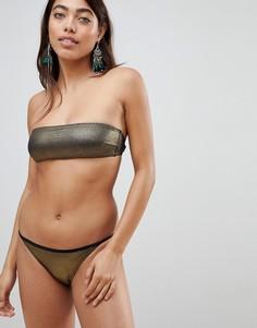 Золотистый купальник бикини с топом-бандо и эффектом металлик Pistol Panties - Золотой