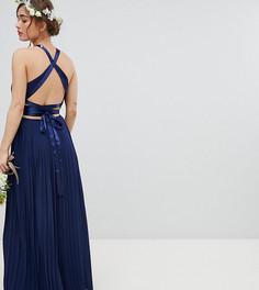 Плиссированное платье макси с перекрестной отделкой на спине TFNC Petite - Темно-синий