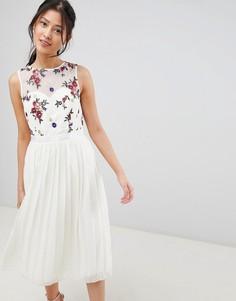 Платье миди с вышивкой Little Mistress - Кремовый
