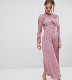 Платье макси с кружевным верхом и плиссированной юбкой Little Mistress Petite - Розовый