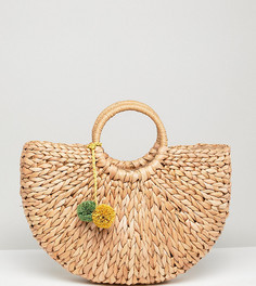 Соломенная сумка с помпонами South Beach - Мульти