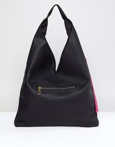 Черная сумка на плечо с кисточками Yoki Fashion - Черный