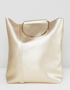 Перламутрово-золотистая сумка-тоут с наплечным ремешком и D-образным кольцом Yoki Fashion - Золотой