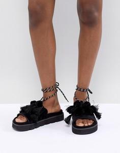 Премиум-сандалии с отделкой помпонами ASOS DESIGN - Черный