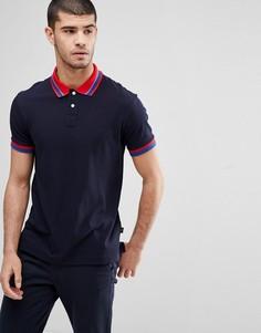 Темно-синяя футболка-поло с контрастным воротником PS Paul Smith - Темно-синий