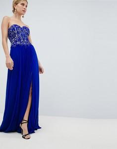 Декорированное платье макси для выпускного Jovani - Синий