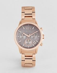 Часы-хронограф 35 мм цвета розового золота Armani Exchange AX4354 - Золотой
