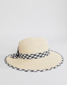 Соломенная пляжная шляпа с бантом в клетку Boardmans - Светло-бежевый