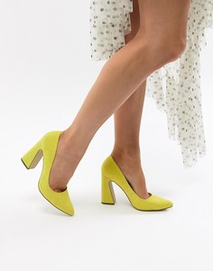 Туфли-лодочки на расклешенном каблуке Missguided - Желтый