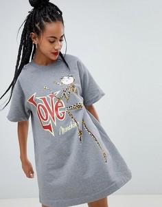 Трикотажное платье с принтом Love Moschino - Серый