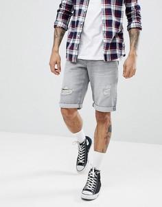 Серые джинсовые шорты из органического хлопка с рваной отделкой Esprit - Серый