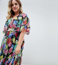 Платье миди с расклешенными рукавами и плиссированной юбкой ASOS DESIGN Curve - Мульти