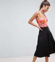 Укороченные брюки с широкими штанинами ASOS DESIGN Petite - Черный