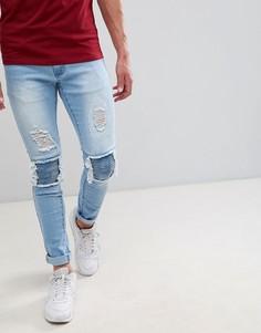 Рваные супероблегающие джинсы в байкерском стиле Liquor N Poker - Синий