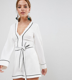 Ромпер с рукавами-кимоно, контрастной окантовкой и поясом Missguided Petite - Белый