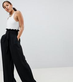 Широкие брюки с присборенной талией Missguided Tall - Черный