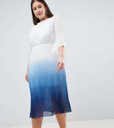 Короткое приталенное платье с плиссировкой John Zack Plus - Белый