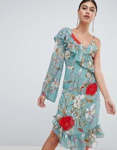 Платье миди с оборками и цветочным принтом Missguided - Зеленый