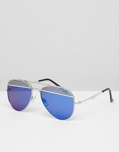 Солнцезащитные очки-авиаторы с цветными стеклами Jeepers Peepers - Серебряный
