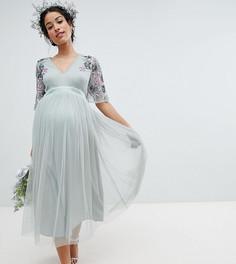 Платье миди с декоративной отделкой Maya Maternity - Зеленый