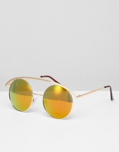 Розовые круглые солнцезащитные очки с затемненными стеклами Jeepers Peepers - Золотой