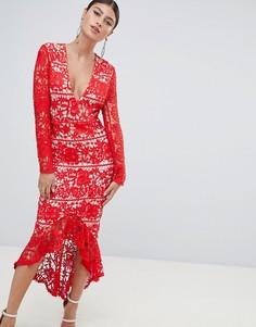 Кружевное платье миди с длинными рукавами Missguided - Красный