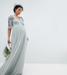 Платье макси из тюля с отделкой на рукавах Maya Maternity - Зеленый