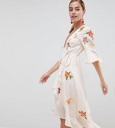 Платье миди с запахом и вышивкой ASOS DESIGN Petite - Мульти