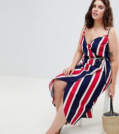 Платье макси в яркую полоску с запахом ASOS DESIGN Curve - Мульти