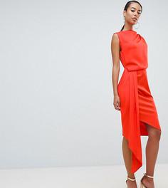 Атласное платье миди с драпировкой и поясом ASOS DESIGN Tall - Оранжевый