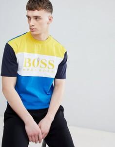 Футболка со вставками и большим логотипом BOSS - Синий