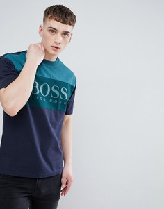 Сине-зеленая футболка со вставками и большим логотипом BOSS - Темно-синий