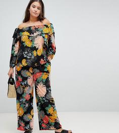 Свободные брюки с ярким цветочным принтом Glamorous Curve - Черный