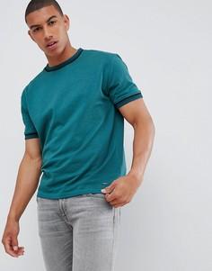 Темно-зеленая футболка с отделкой BOSS Twixt - Зеленый