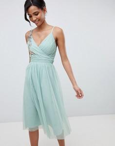 Платье миди с цветочной аппликацией Little Mistress - Зеленый