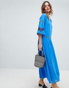 Платье макси с вышитым цветочным узором Sisley - Синий
