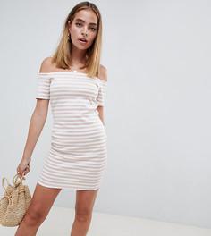 Облегающее платье в полоску с широким вырезом Missguided Petite - Мульти