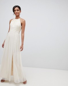 Платье макси кремового цвета с пайетками Little Mistress - Кремовый