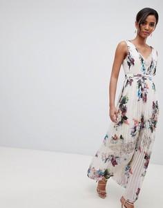 Кремовое платье макси с цветочным принтом Little Mistress - Кремовый