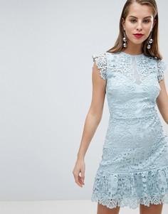 Кружевное приталенное платье Lipsy - Синий