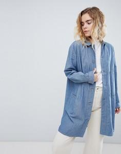 Длинная куртка из ткани шамбре Bethnals Graham - Синий