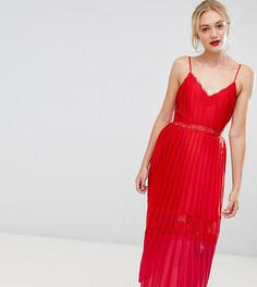 Платье миди с кружевной отделкой и плиссировкой Little Mistress Tall - Красный