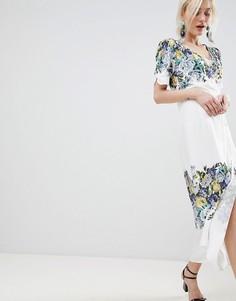 Платье с запахом и цветочным принтом Free People Jaimie - Белый