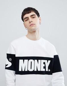 Белый джемпер с круглым вырезом и вставкой Money - Белый